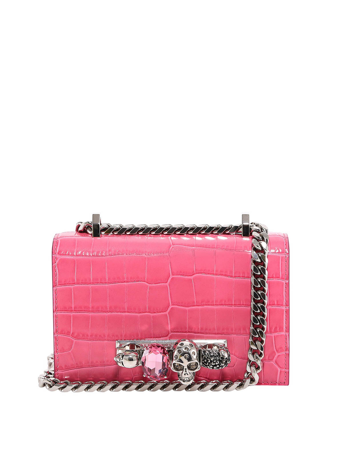 Alexander Mcqueen Leathers CROCO PRINT LEATHER CROSS BODY BAG