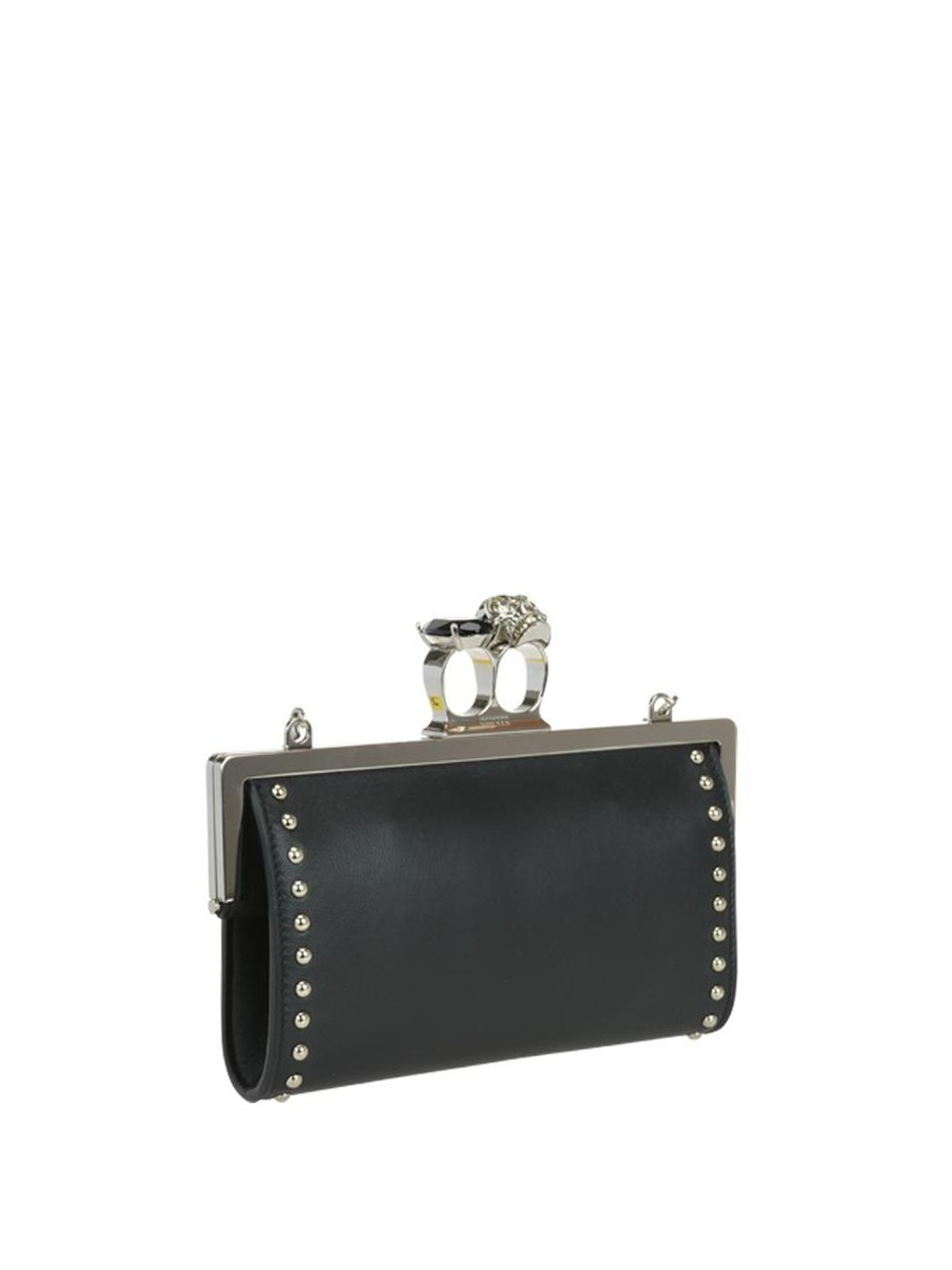 Alexander Mcqueen - Skull ring studded leather clutch ...