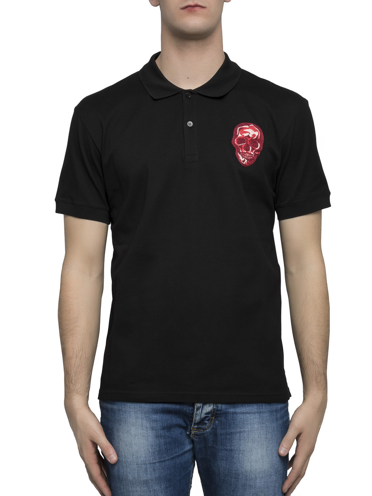 6a13ca187 ALEXANDER MCQUEEN: polo shirts online - Embroidered skull polo shirt