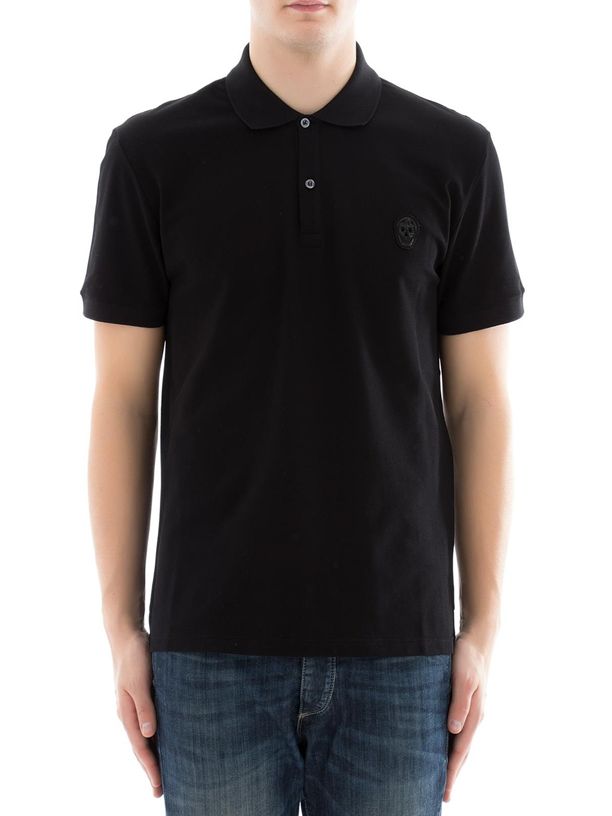 6757b62af ALEXANDER MCQUEEN: polo shirts online - Skull patch black polo shirt