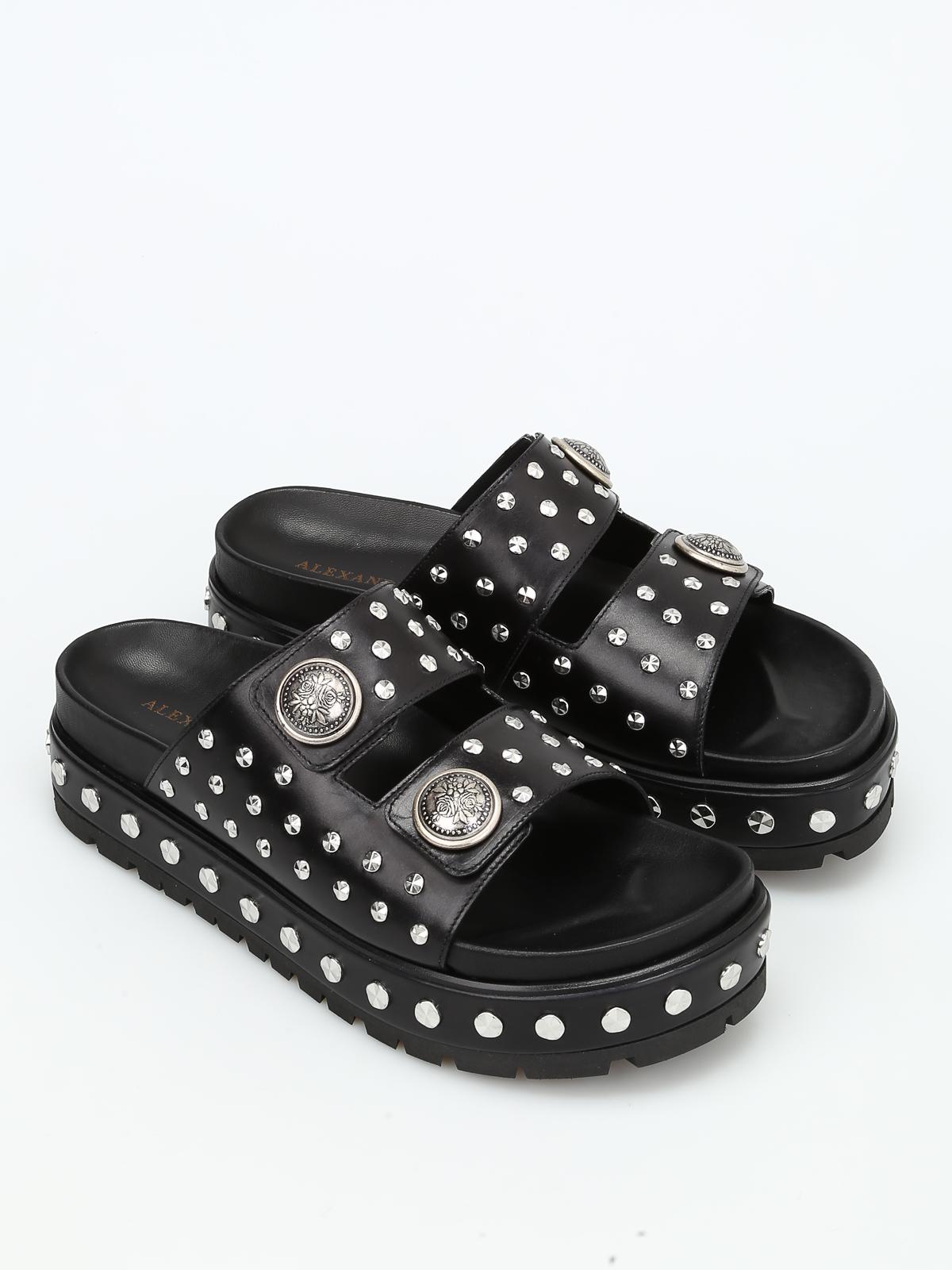 Goya studded leather slide sandals