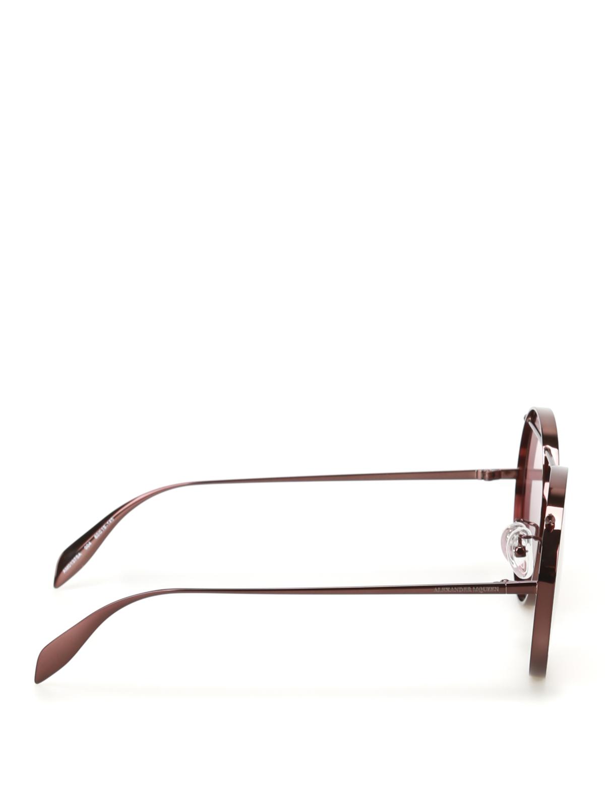 fa7a53f716 ALEXANDER MCQUEEN  sunglasses online - Brown metal round sunglasses