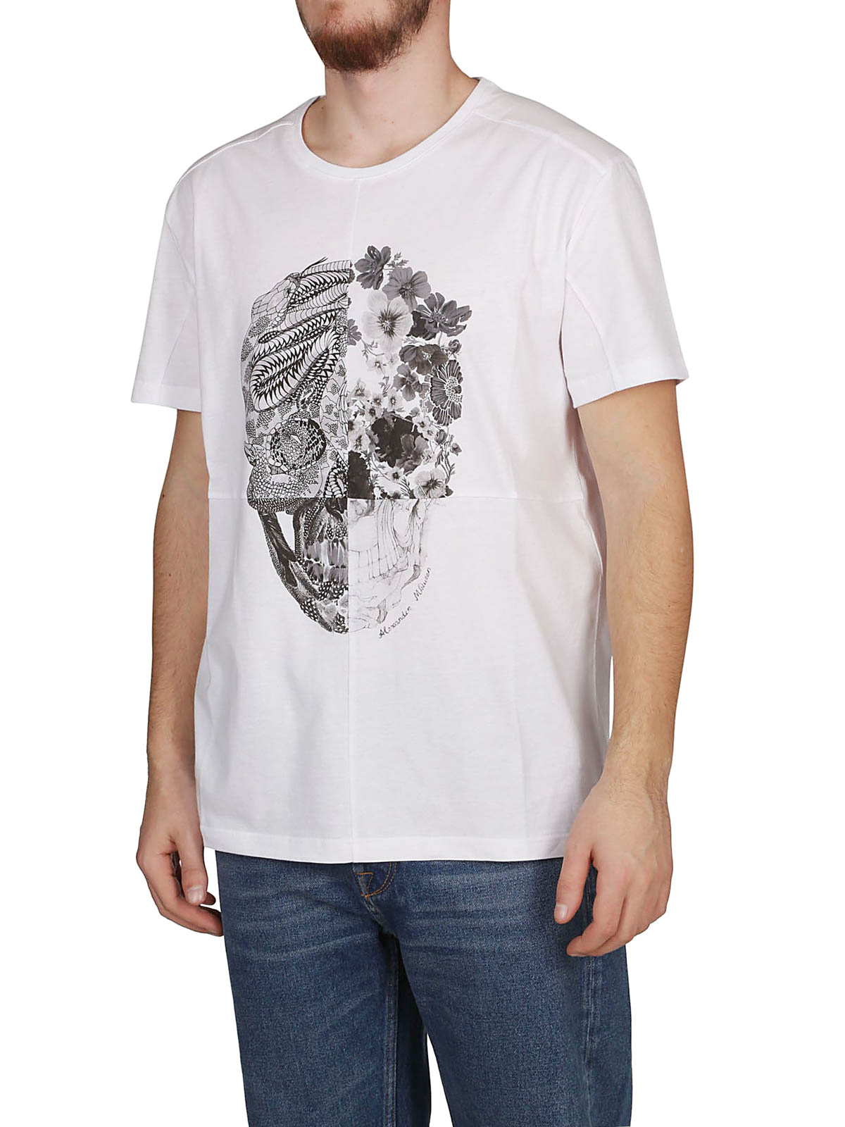 33f6510bb ALEXANDER MCQUEEN: t-shirts online - Skull Patchwork white T-shirt