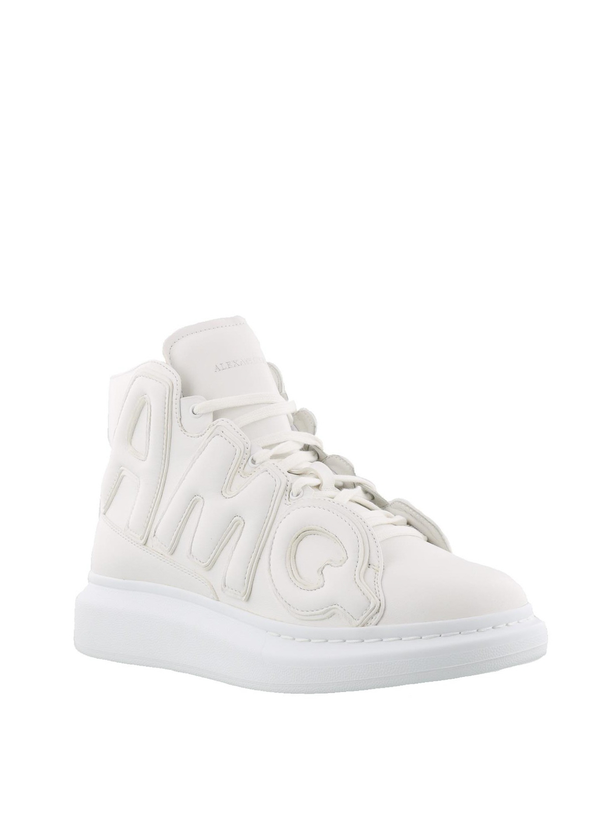 Oversize white nappa high sneakers by Alexander Mcqueen ...