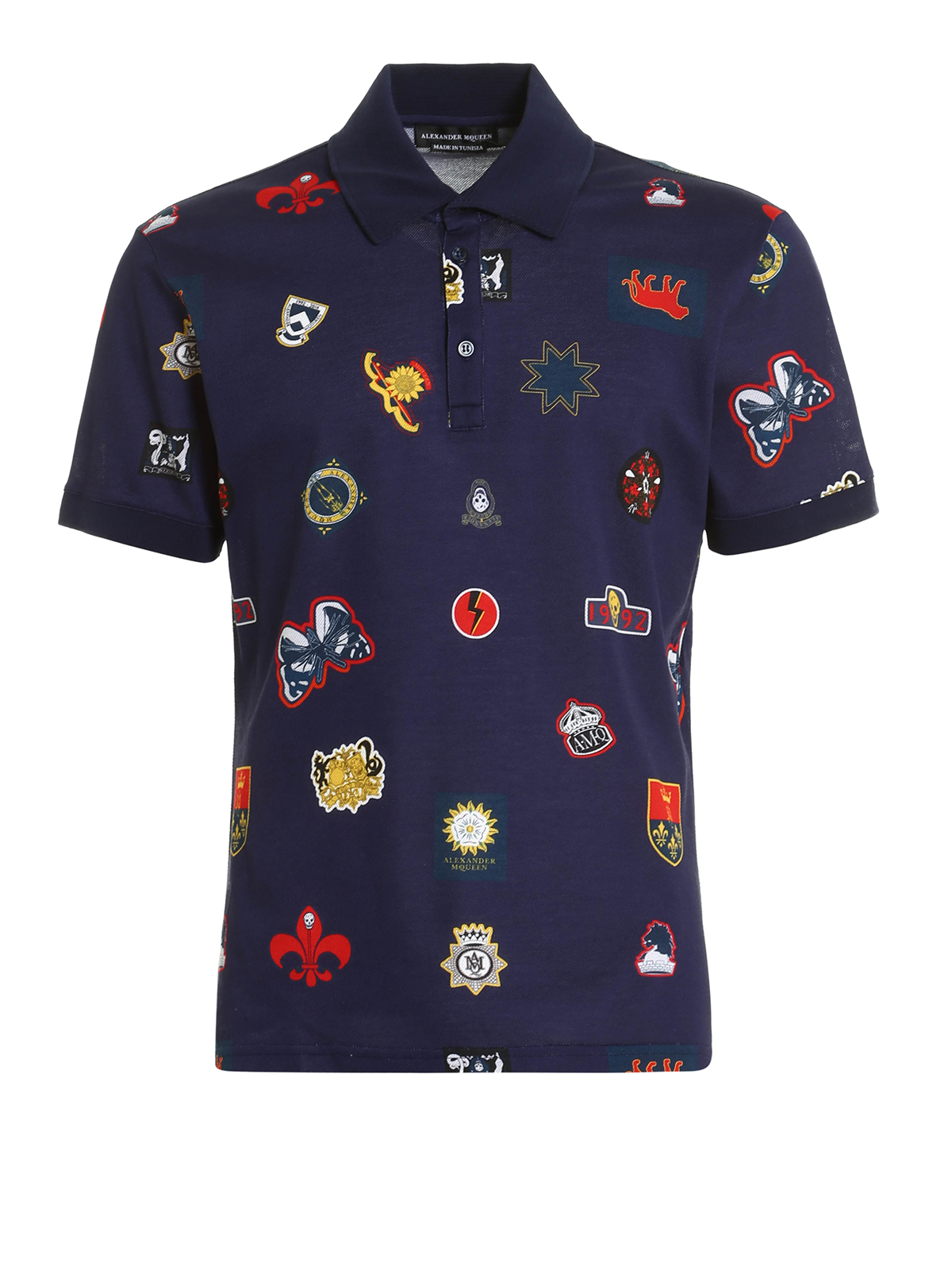 Crest print pique polo shirt by alexander mcqueen polo for Polo shirts for printing
