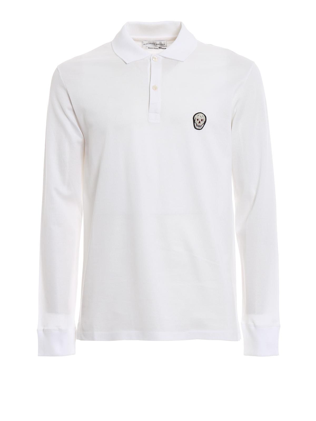 95d92a09c ALEXANDER MCQUEEN: polo shirts - Skull embroidery white long sleeve polo  shirt