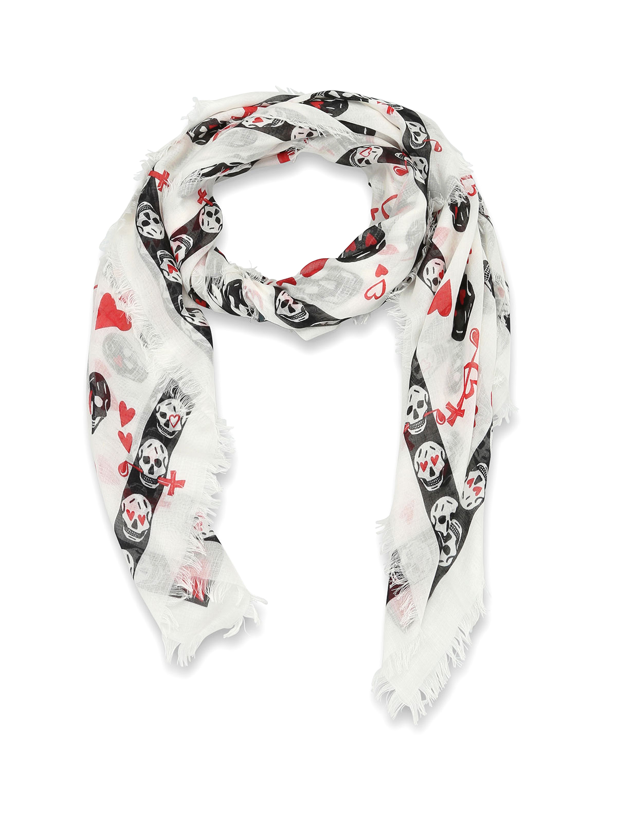 Skull and hearts print foulard by Alexander Mcqueen ...