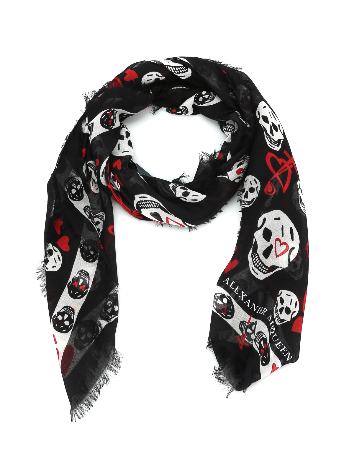 10a60098738 Alexander Mcqueen - Skull and hearts print foulard - scarves ...