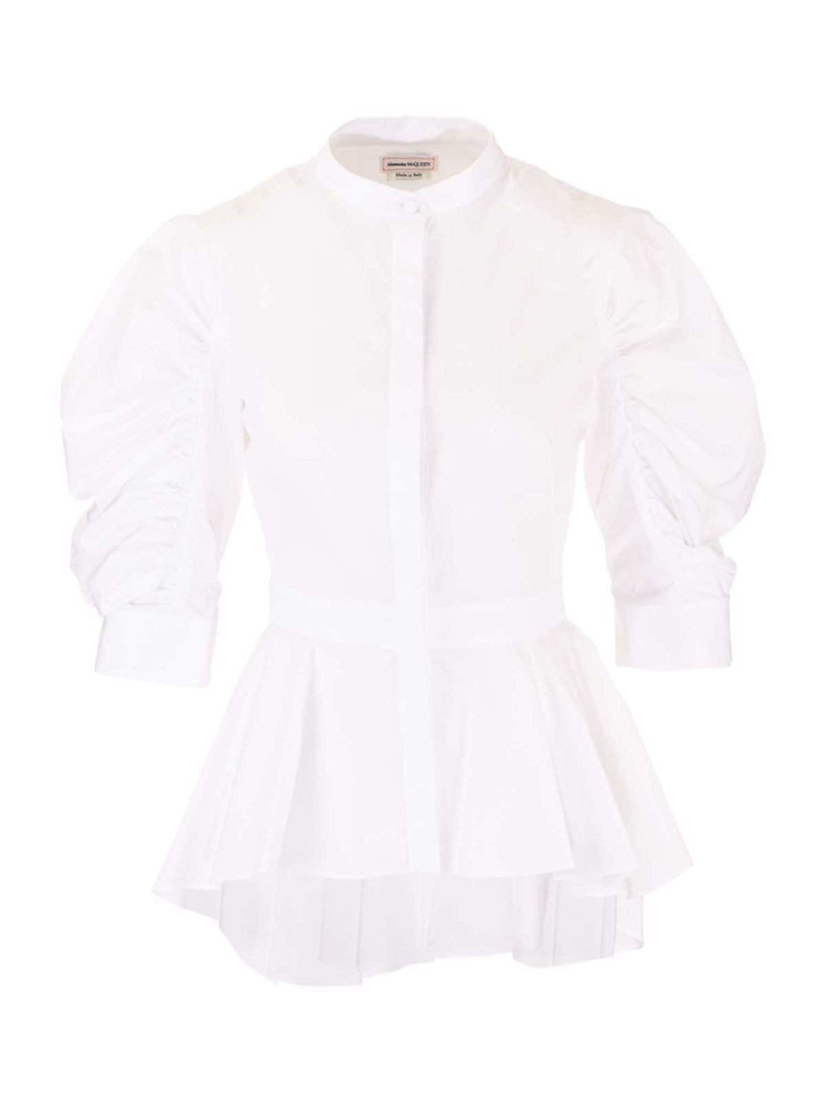 Alexander Mcqueen Cottons GATHERED SLEEVES SHIRT IN WHITE