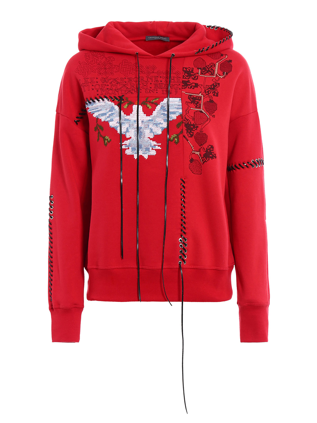embroidered cotton red hoodie by alexander mcqueen sweatshirts sweaters ikrix. Black Bedroom Furniture Sets. Home Design Ideas