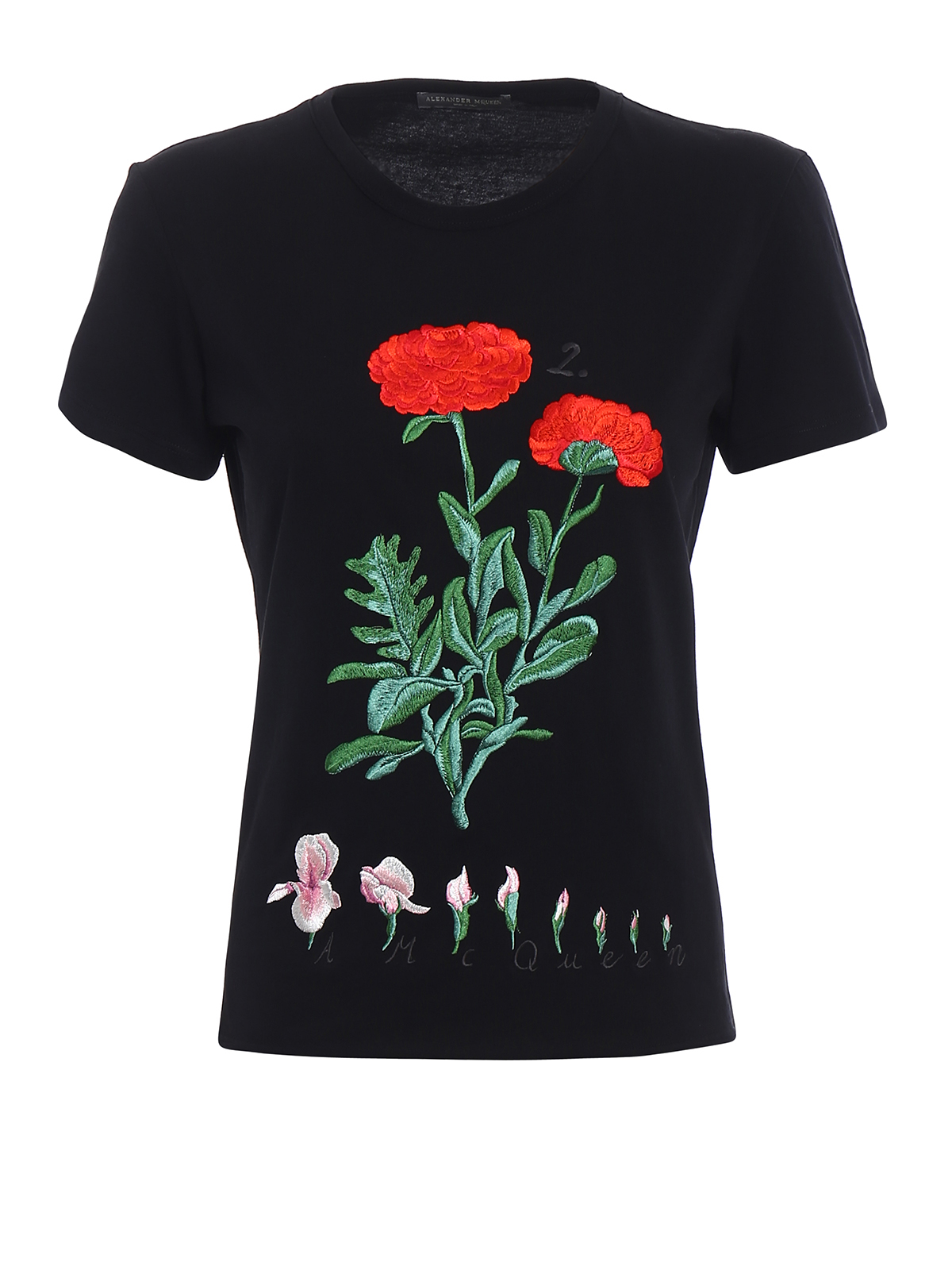 Cotton embroidered black t shirt by alexander mcqueen