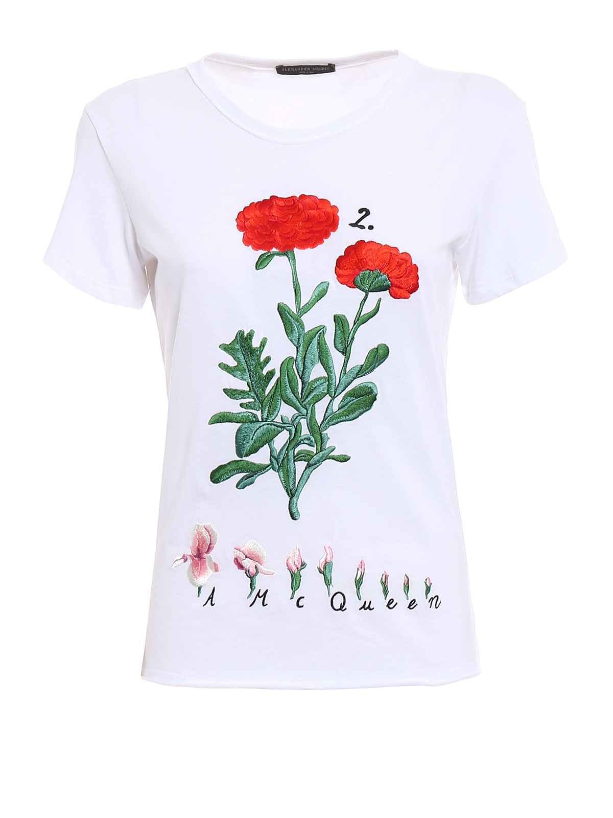 Cotton embroidered t shirt by alexander mcqueen shirts