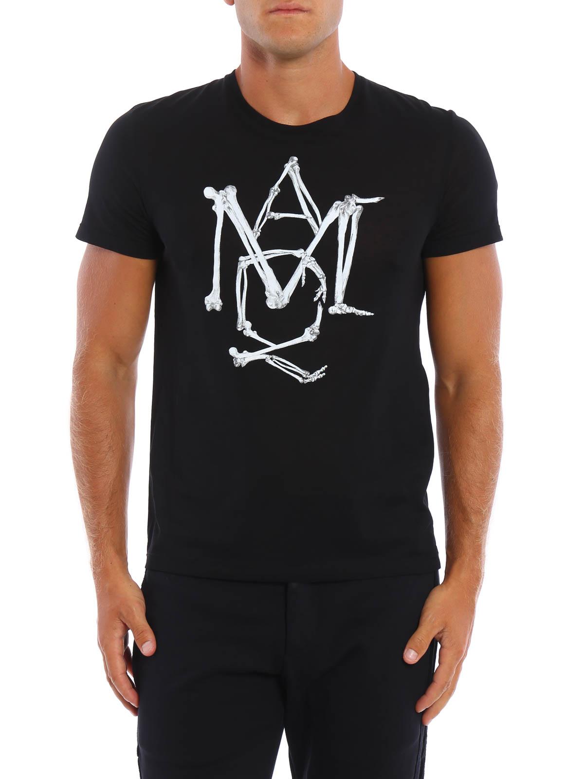 Bones logo t shirt by alexander mcqueen t shirts ikrix for Alexander mcqueen shirt men