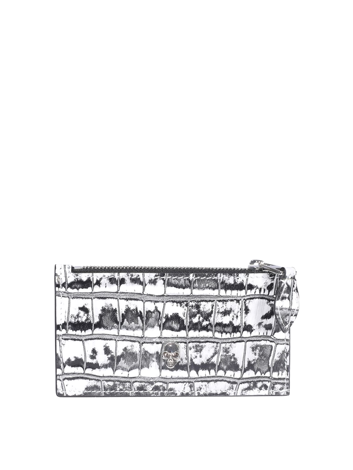 Alexander Mcqueen Cardholders CROCO PRINTED LEATHER CARD HOLDER