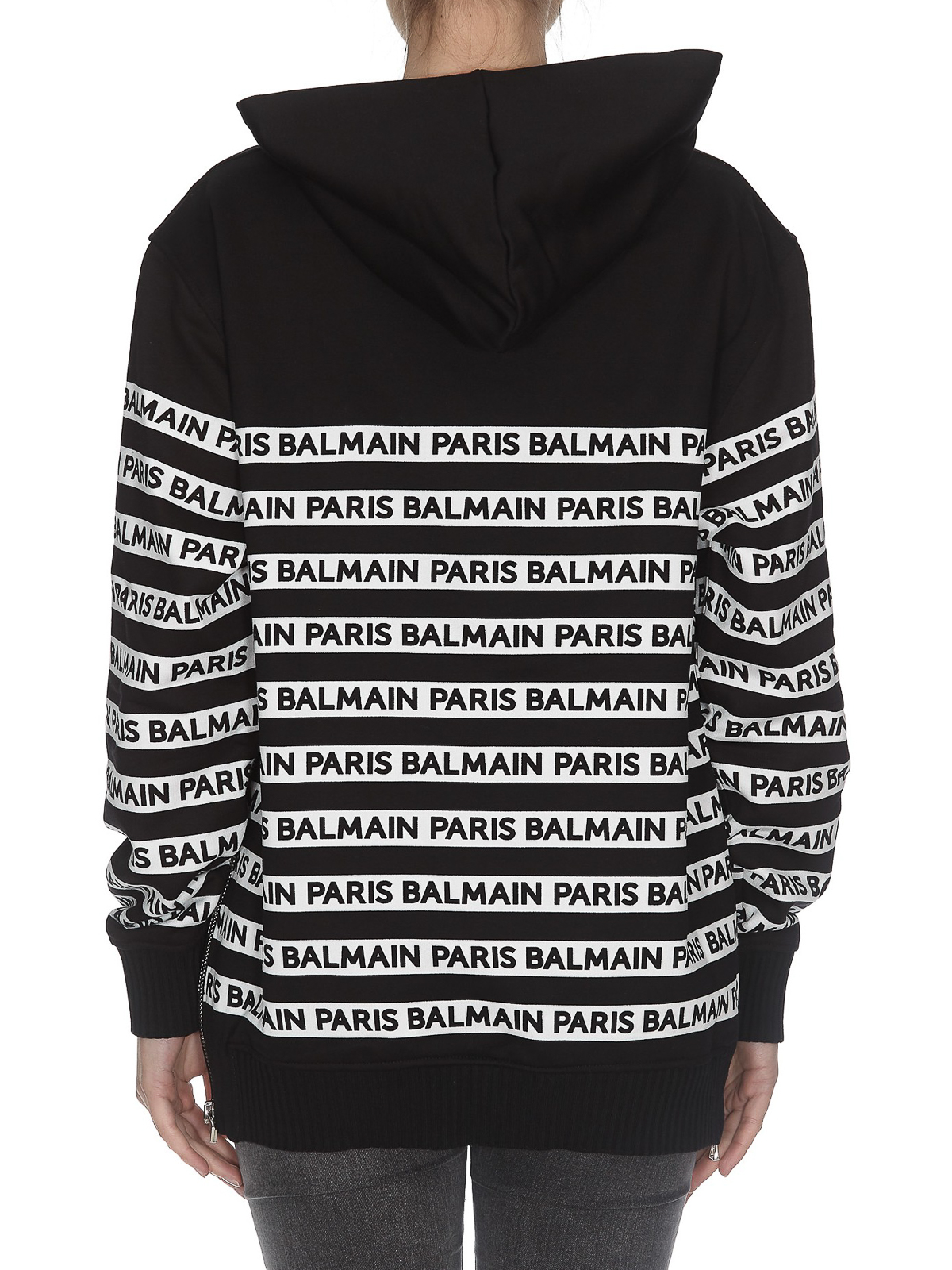 92c8a1c42290 Balmain - Felpa in cotone nero con logo all over - Felpe e maglie ...