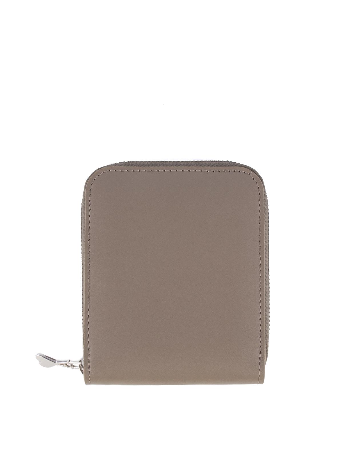 Ami Alexandre Mattiussi Zip Around Leather Wallet In Beige
