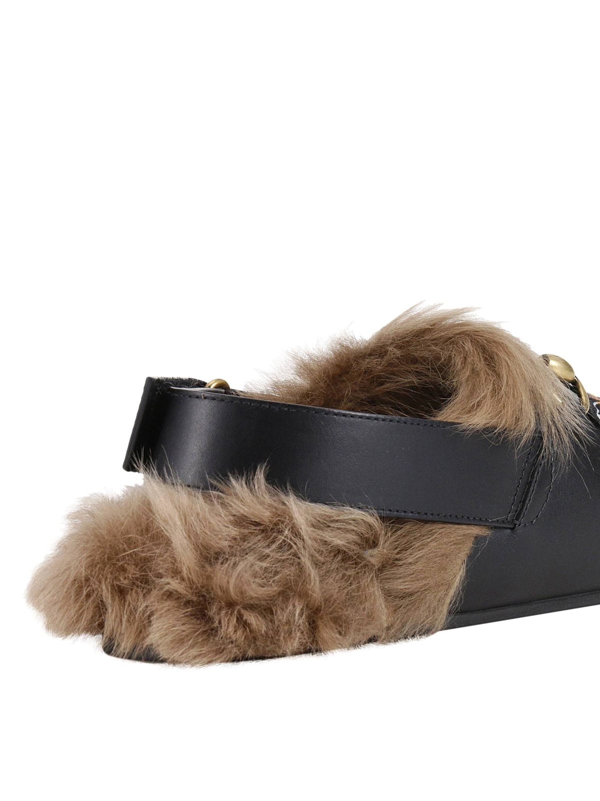 769a620bd52d Gucci - Angry cat fur trim leather slippers - mules shoes - 473494 ...