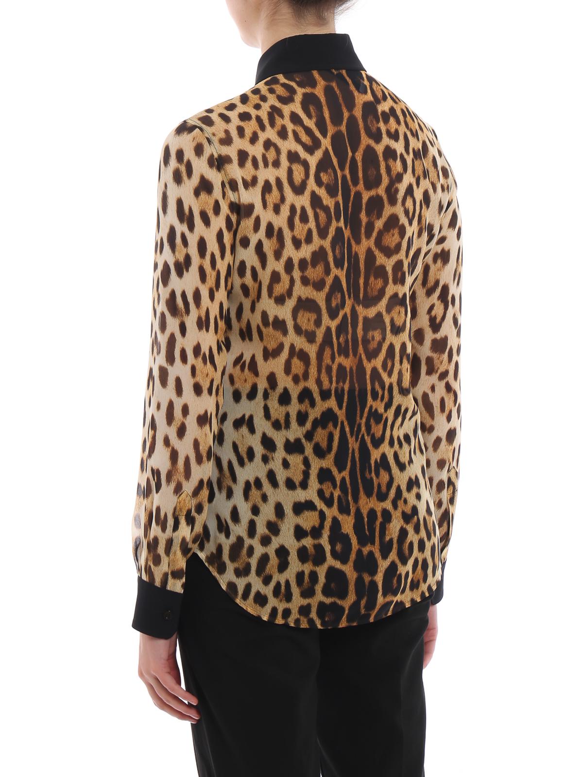 Moschino Camicia in georgette di seta animalier camicie