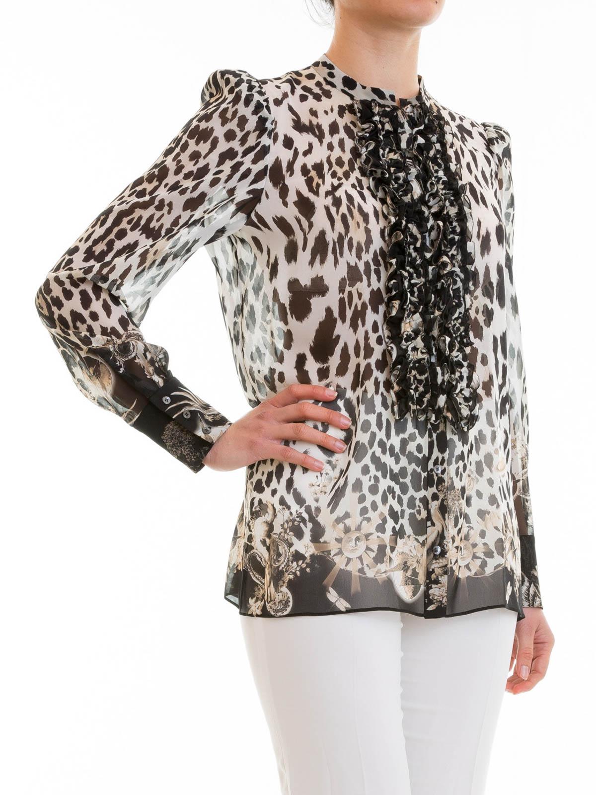 f74f2cadba1b8 Roberto Cavalli - Animal print silk ruched shirt - shirts ...