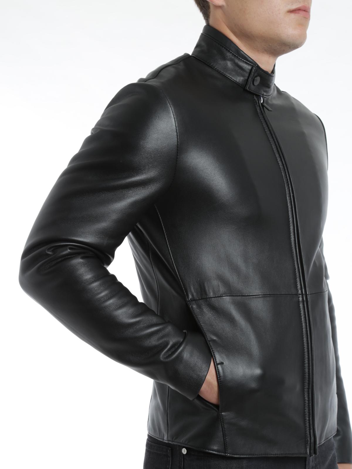 online store aa7ca 691aa Armani Collezioni - Giacca in pelle imbottita - giacche in ...