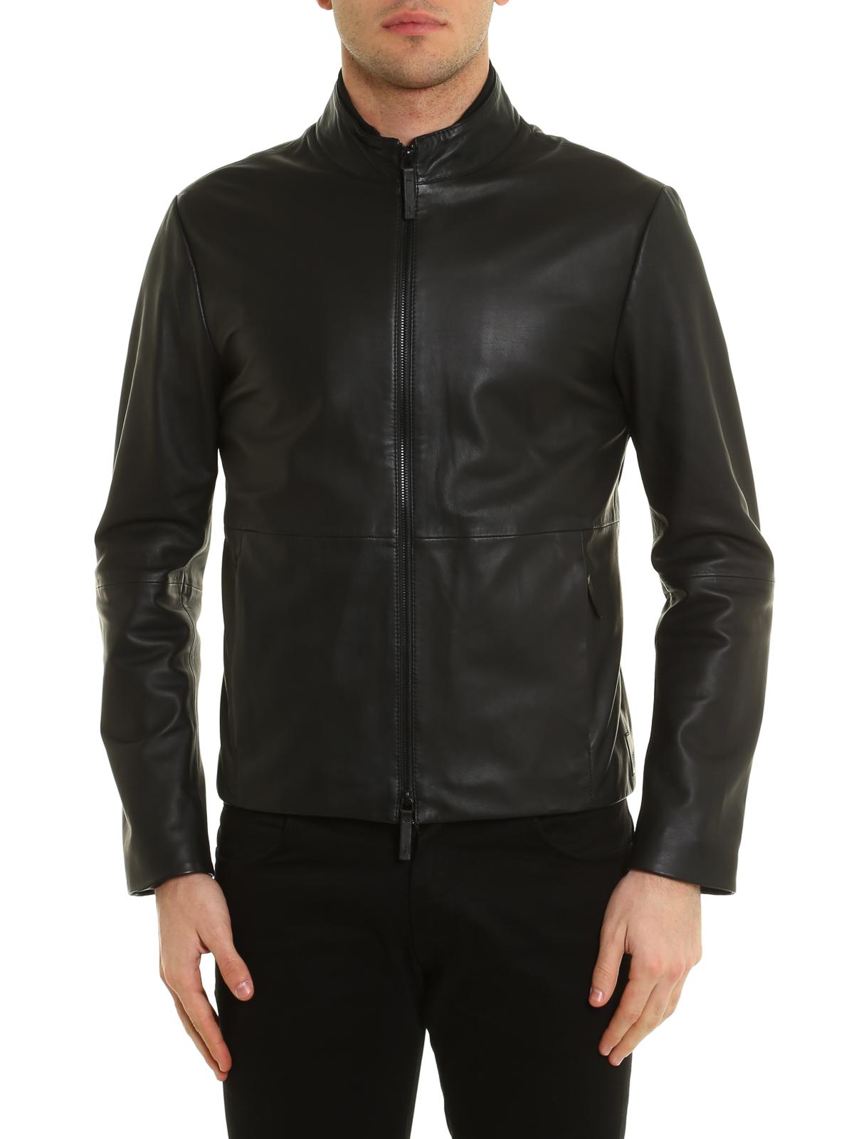 Noir Cuir Homme Armani Vestes En Manteau Pour Collezioni vIOpOx 5f409f6d480