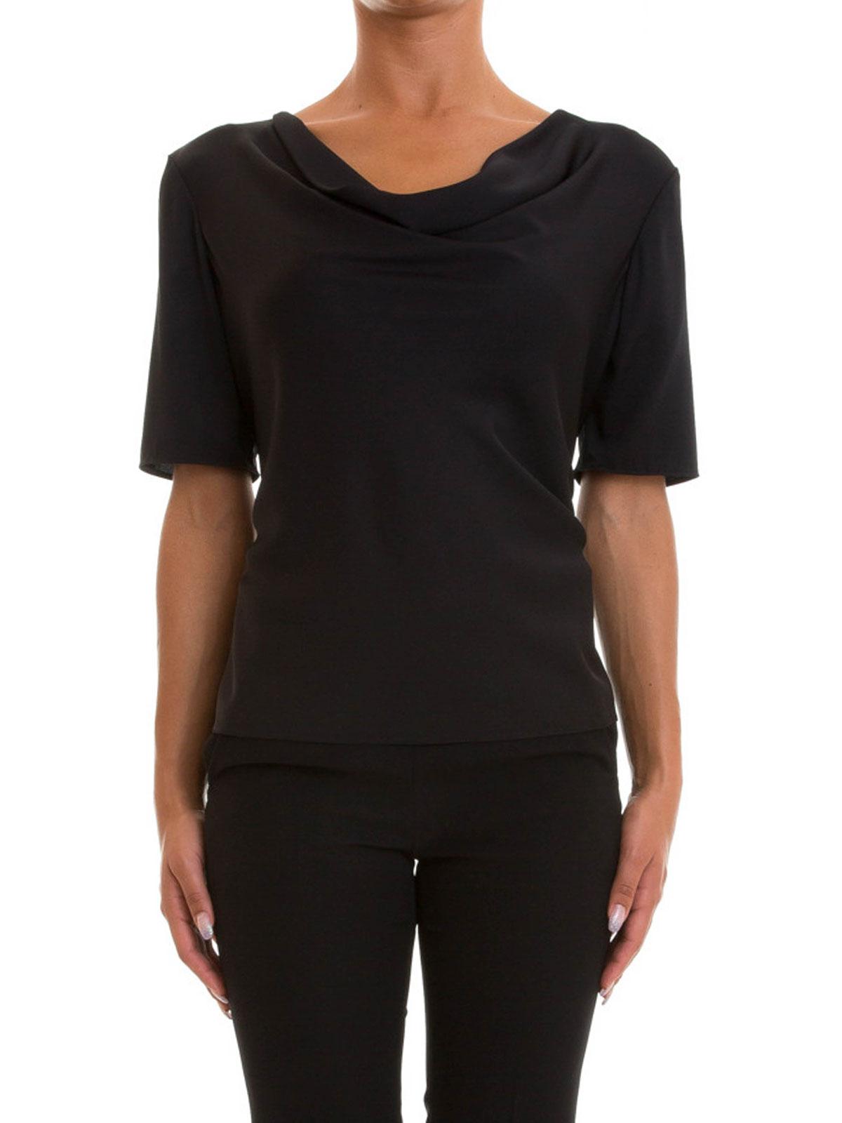 Para Armani Camiseta Collezioni Mujer Camisetas Negra qAx6g6wHR