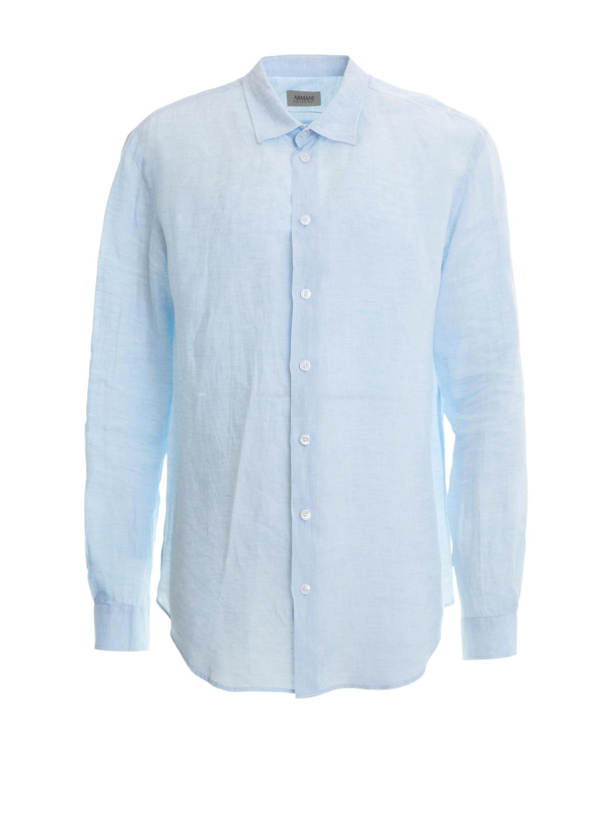 8bbb909223bb Armani Collezioni - Chemise Bleu Clair Pour Homme - Chemises ...
