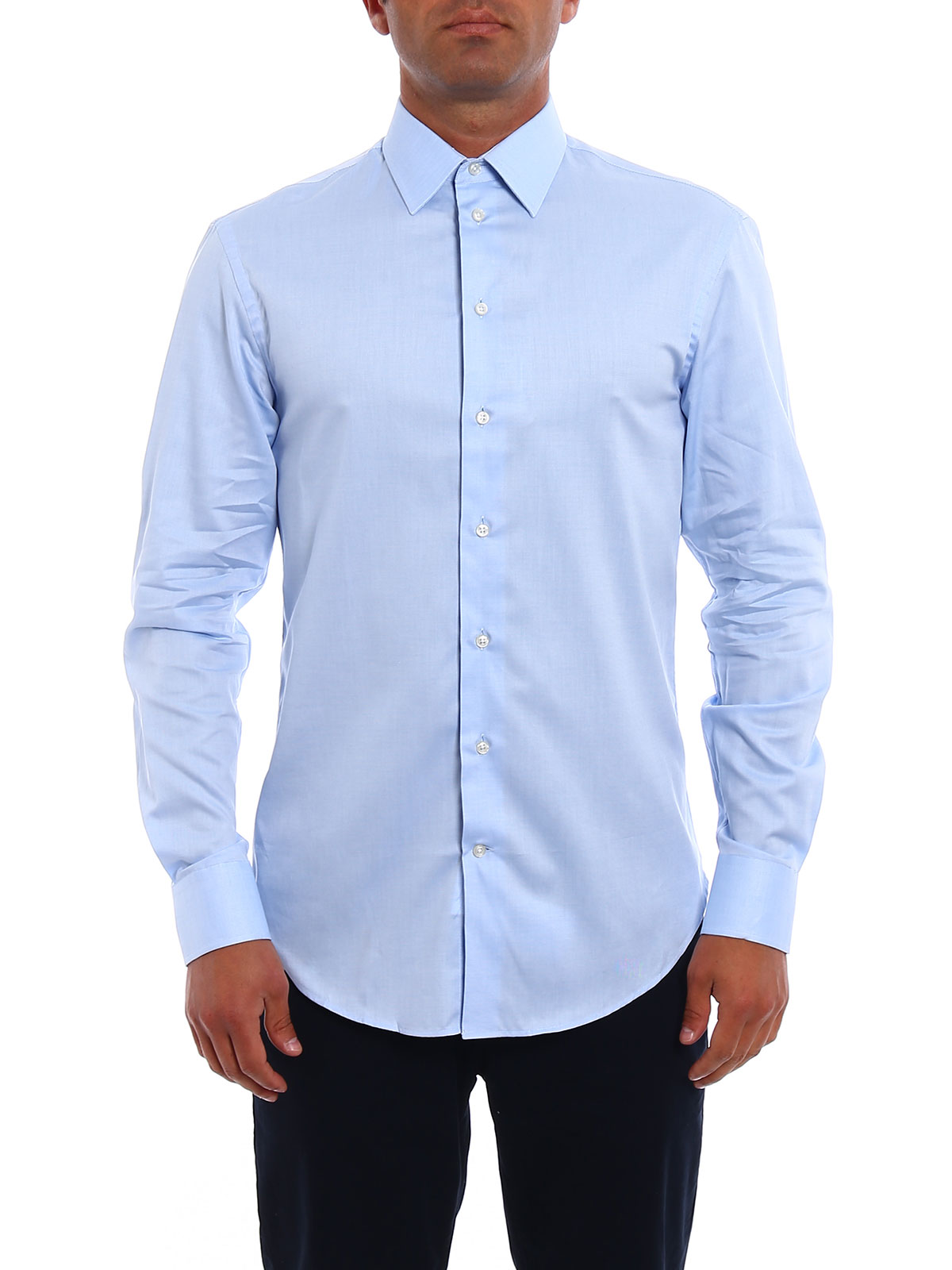 Light Blue Cotton Modern Fit Shirt By Armani Collezioni