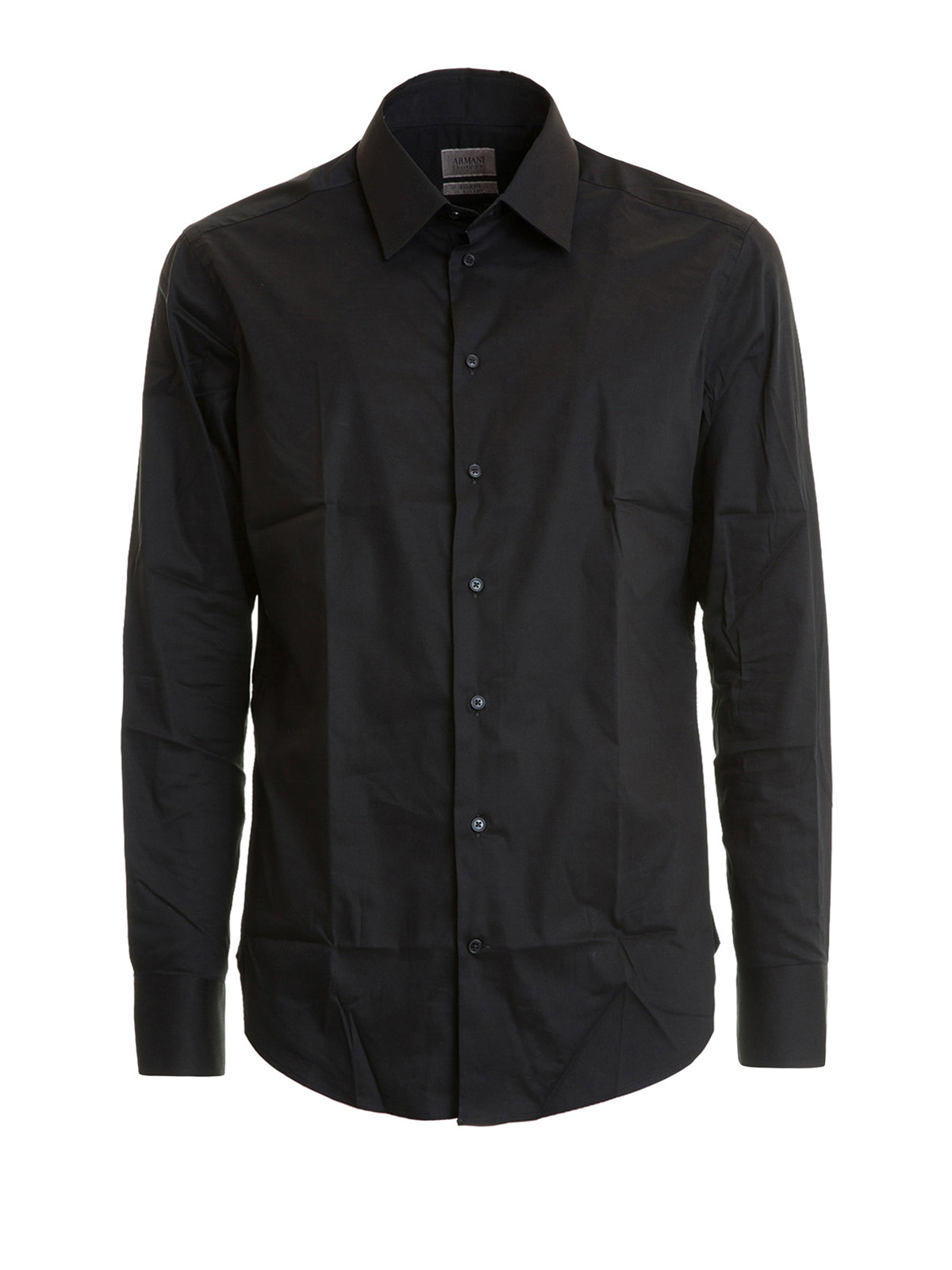 Slim Fit Classic Black Cotton Shirt By Armani Collezioni