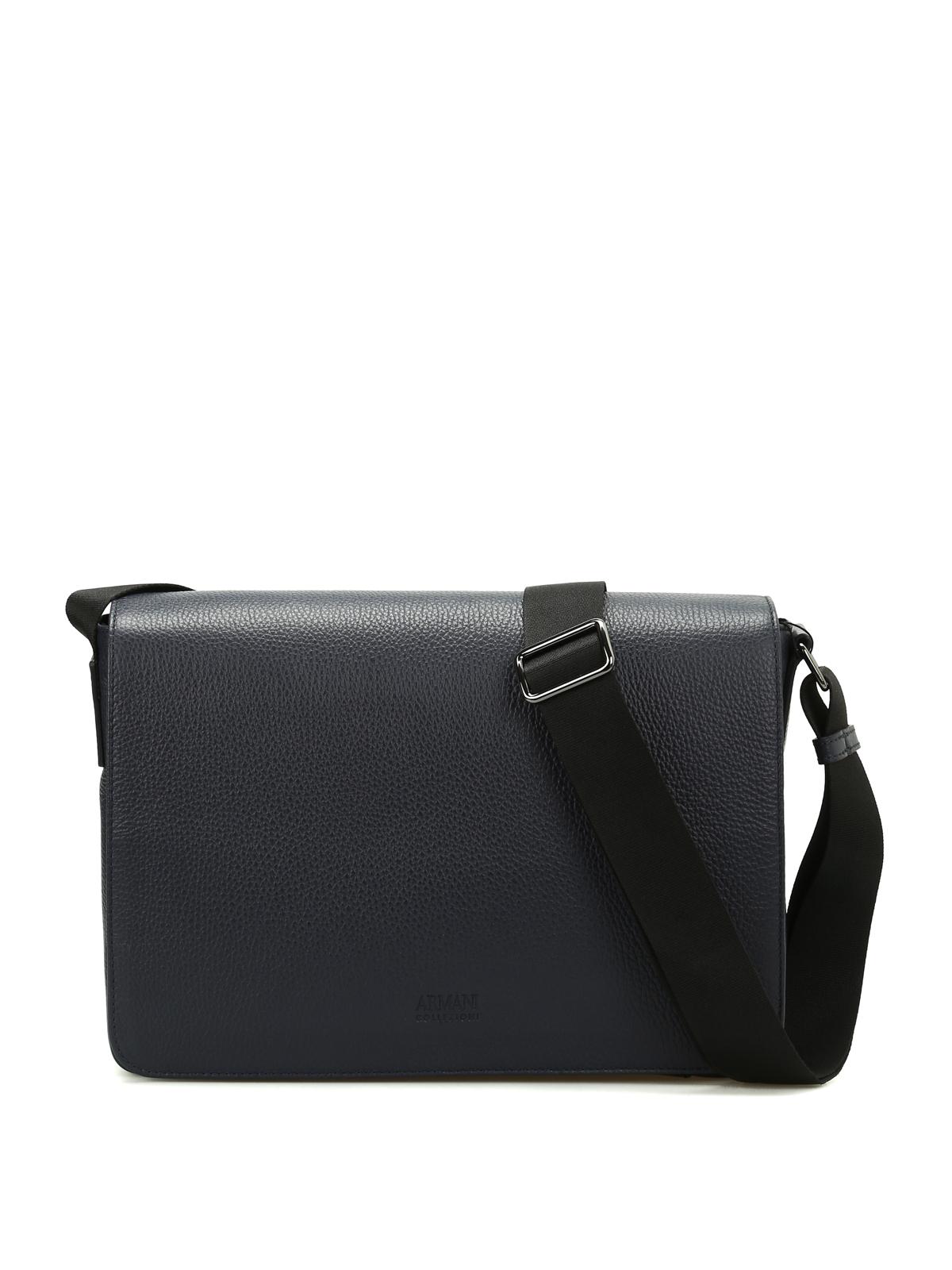 Armani Collezioni - Hammered leather messenger bag - shoulder bags ... 3b118e70d108a