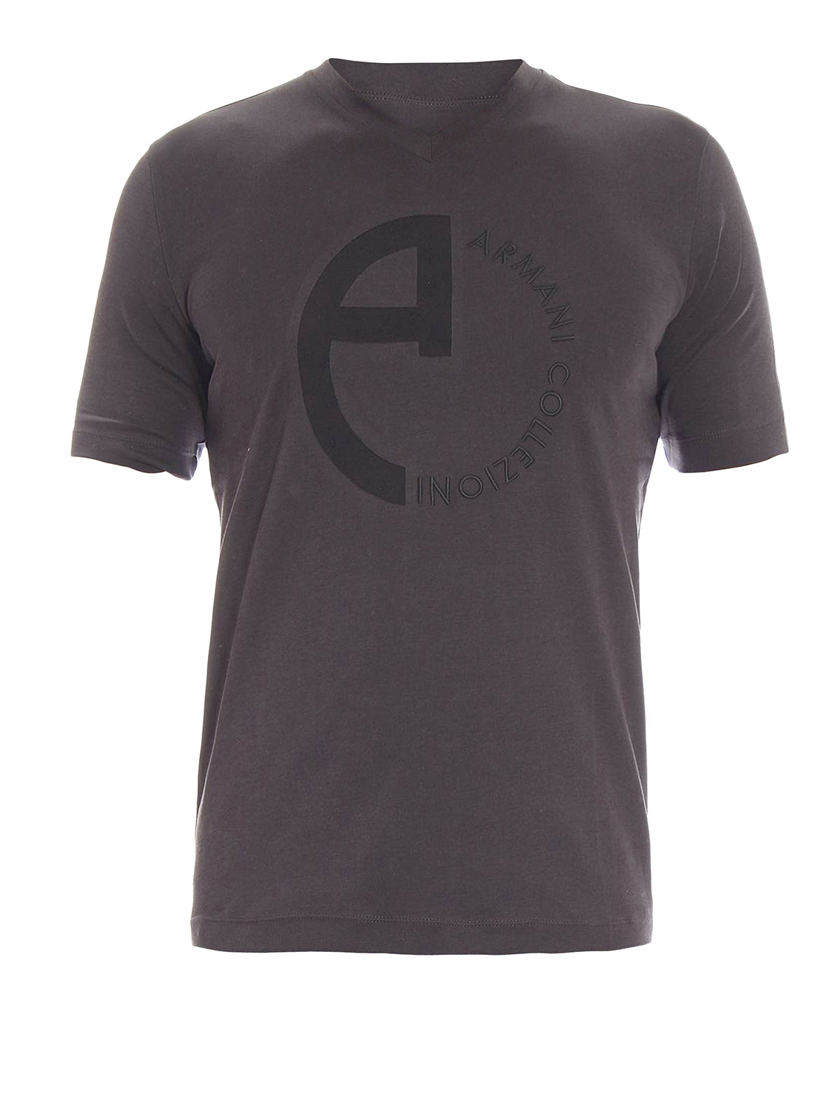 Embroidered logo t shirt by armani collezioni t shirts for Shirt with logo embroidered