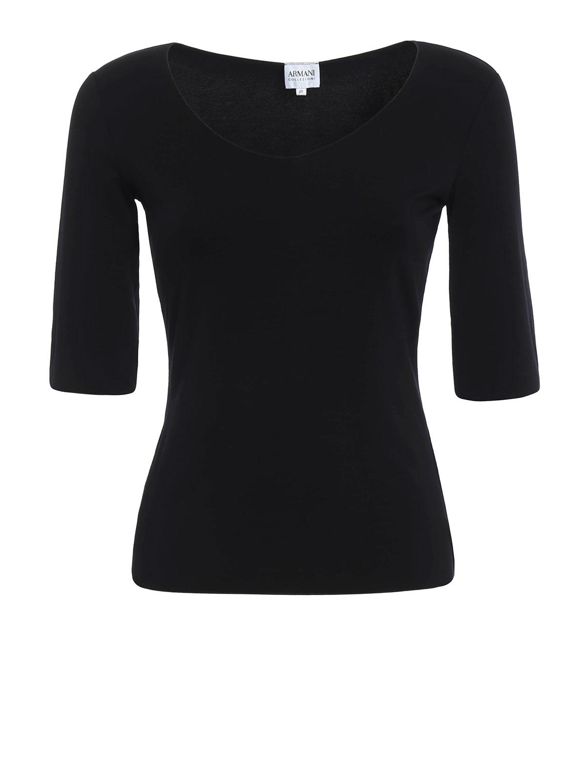 Armani Collezioni - T-Shirt Noir Pour Femme - T-shirts - 6XMM51 ... e203fc9a0b5