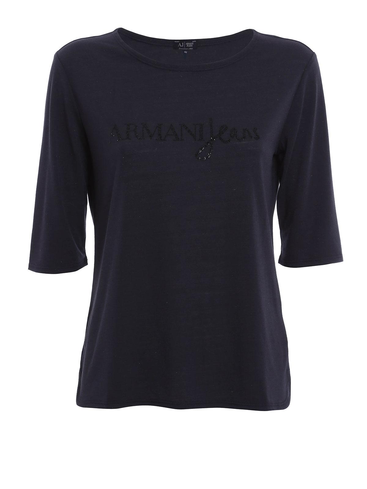 embellished t shirt by armani jeans t shirts ikrix. Black Bedroom Furniture Sets. Home Design Ideas