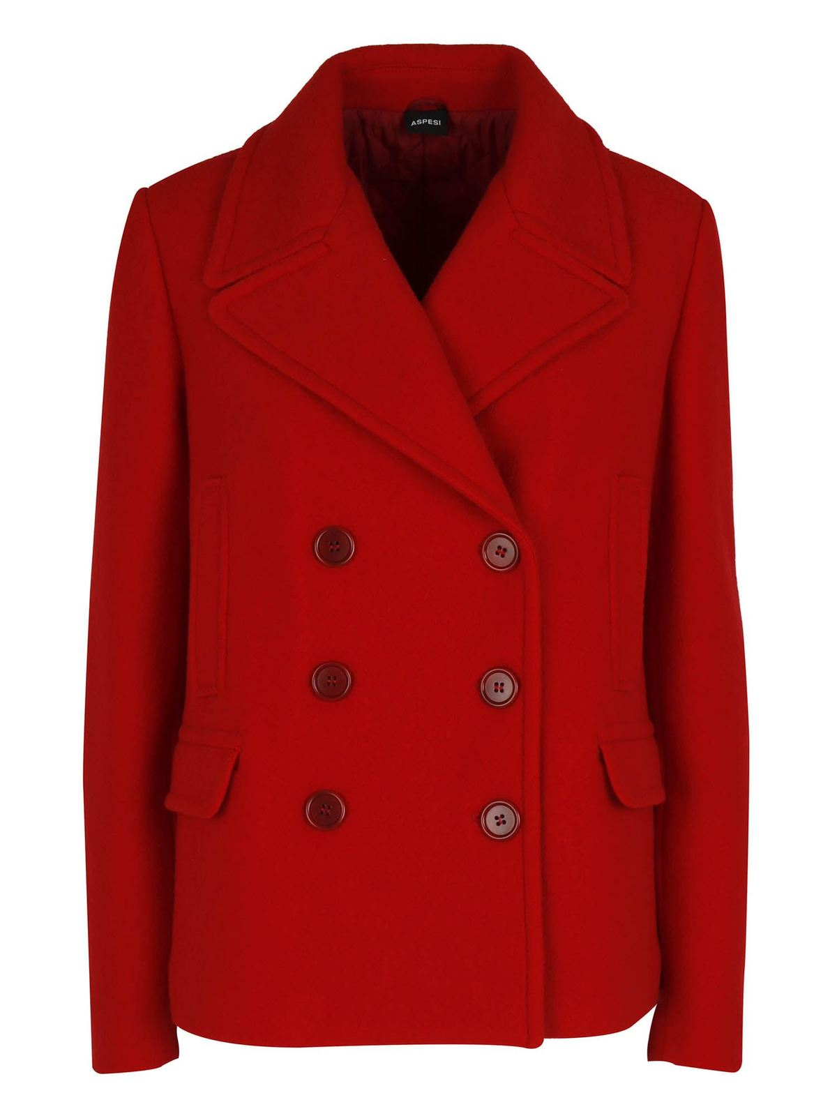 Aspesi WOOL DOUBLE-BREASTED JACKET IN RED