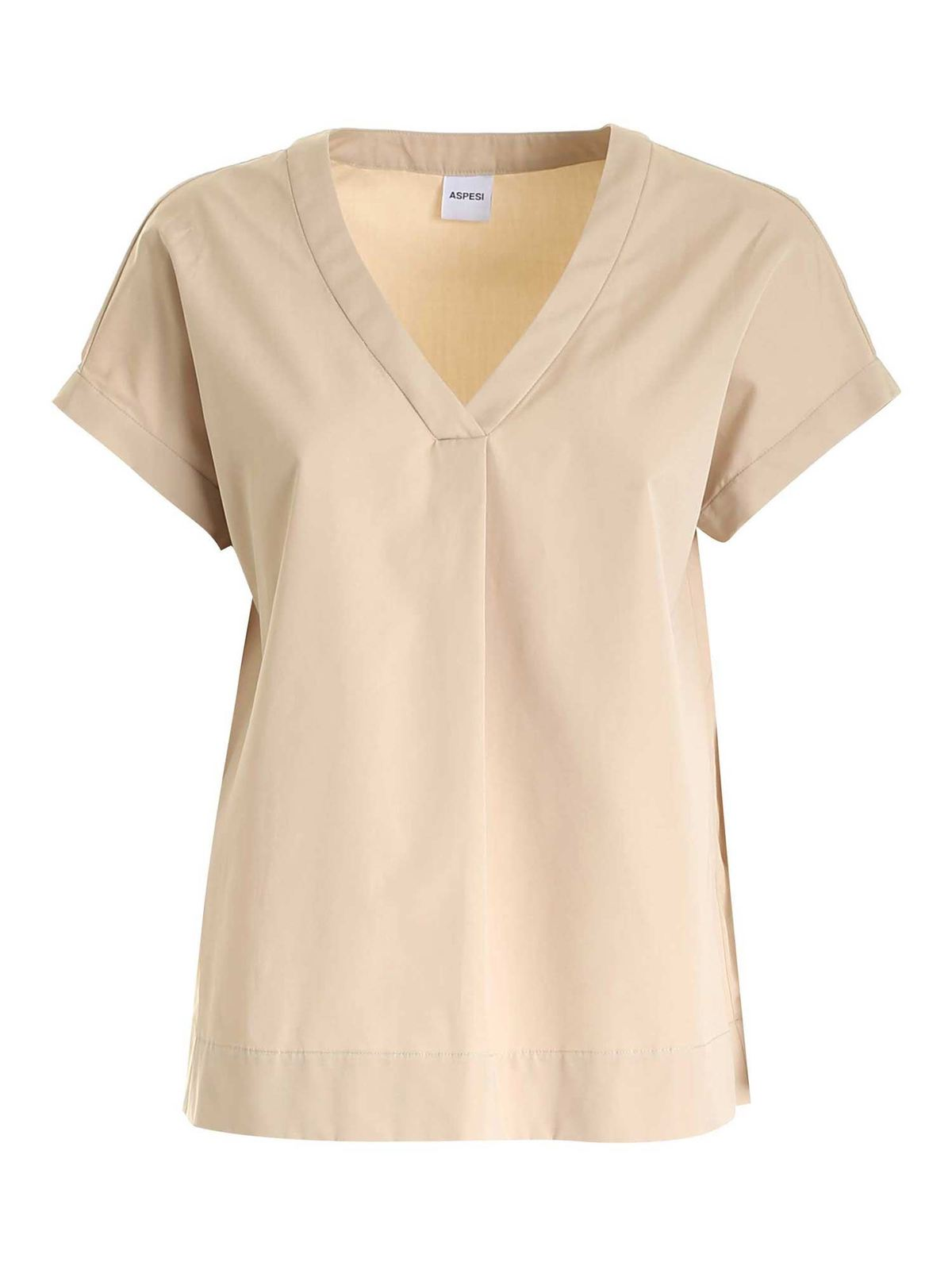 Aspesi Cottons RELAXED FIT BLOUSE IN BEIGE