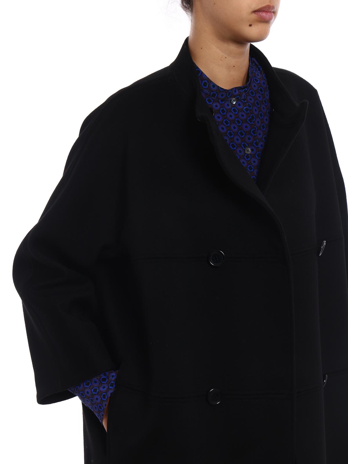 Aspesi - Cappotto a uovo in lana nera - cappotti corti - 764535501241 0e1583cc2715