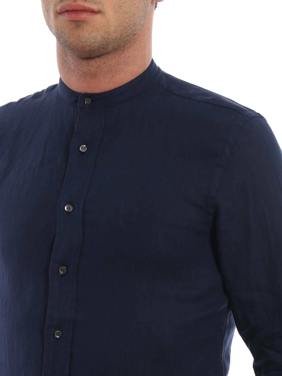 e32b32b38d Aspesi - Camicia estiva Bruce in lino blu - camicie - CE76C19585032