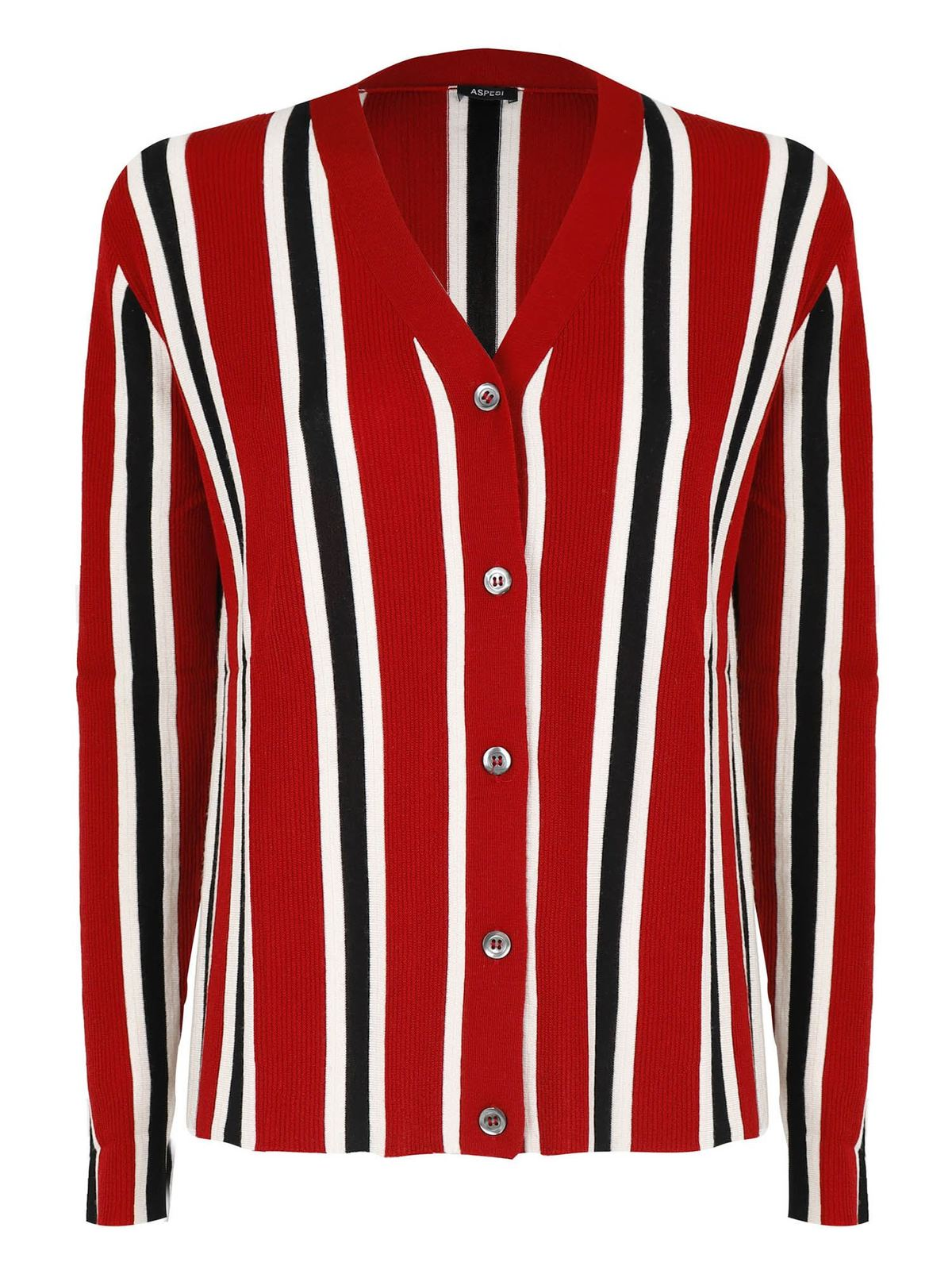 Aspesi STRIPED PATTERN CARDIGAN IN RED