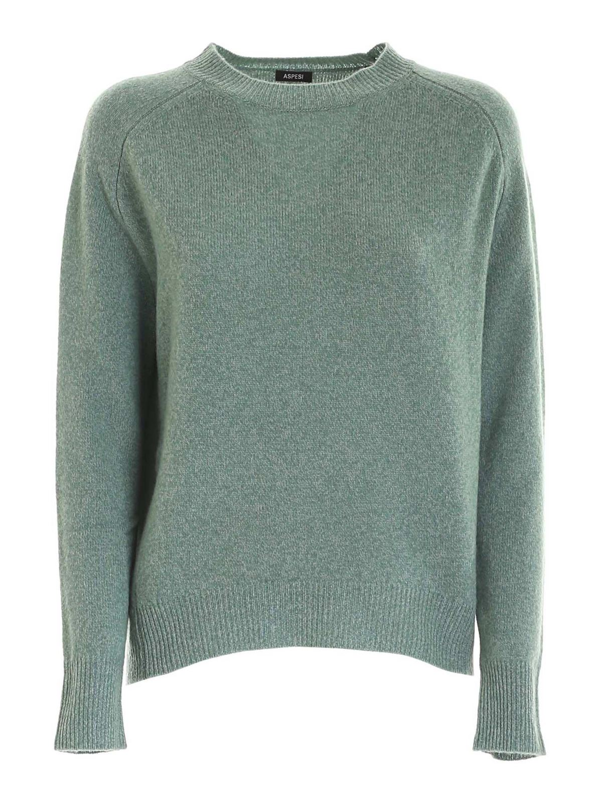Aspesi WOOL PULLOVER IN MELANGE GREEN