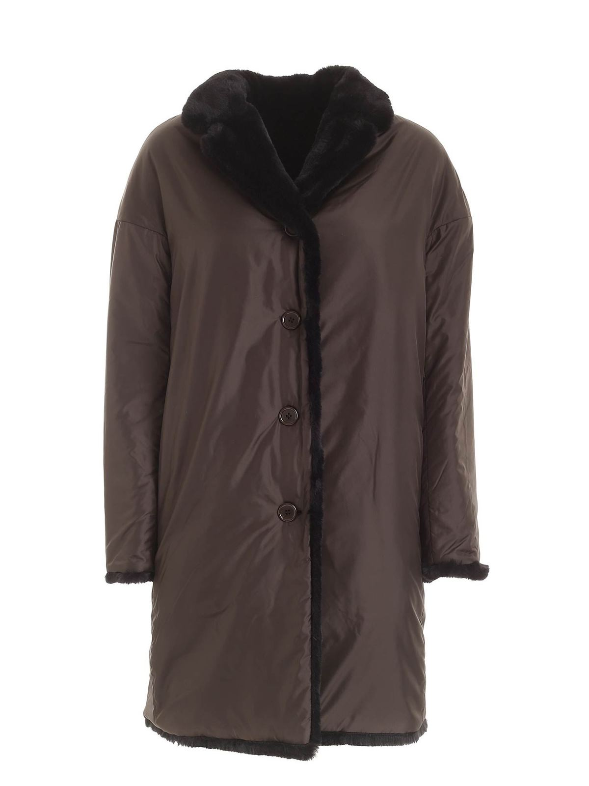 Aspesi PANNA REVERSIBLE COAT IN BLACK AND DOVE GREY