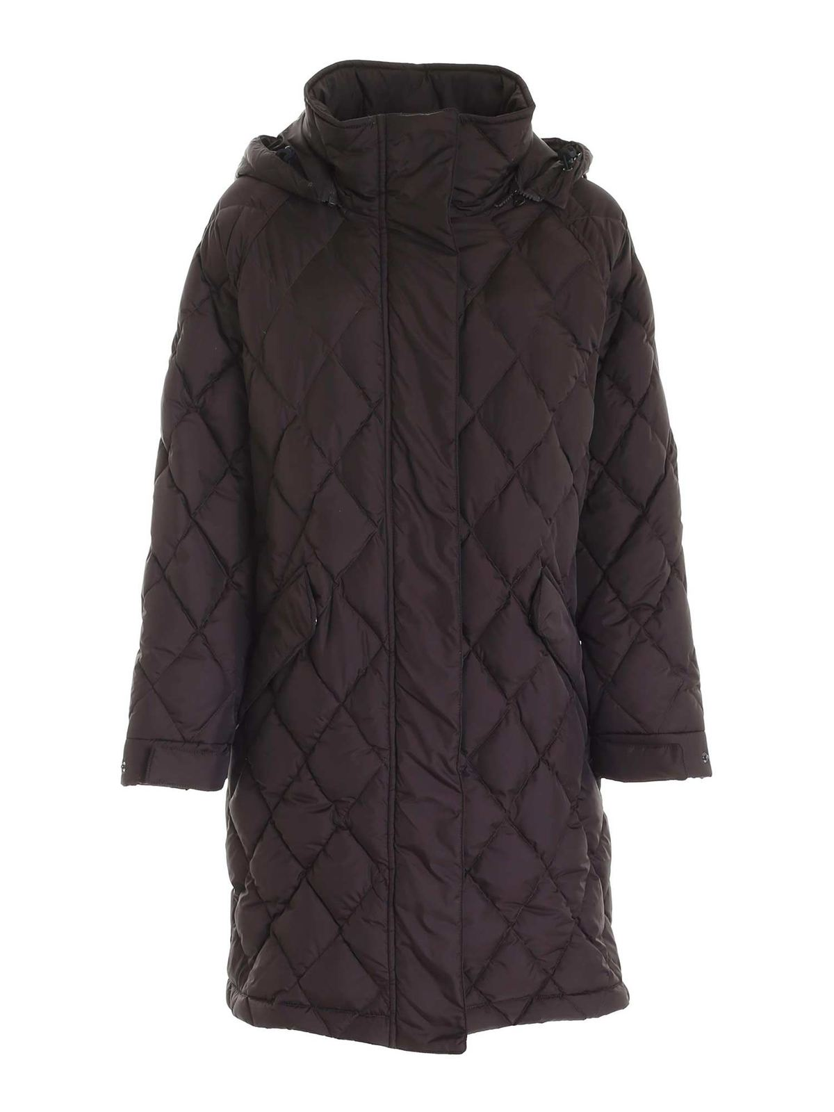 Aspesi HOODED QUILTED DOWN JACKET IN BROWN