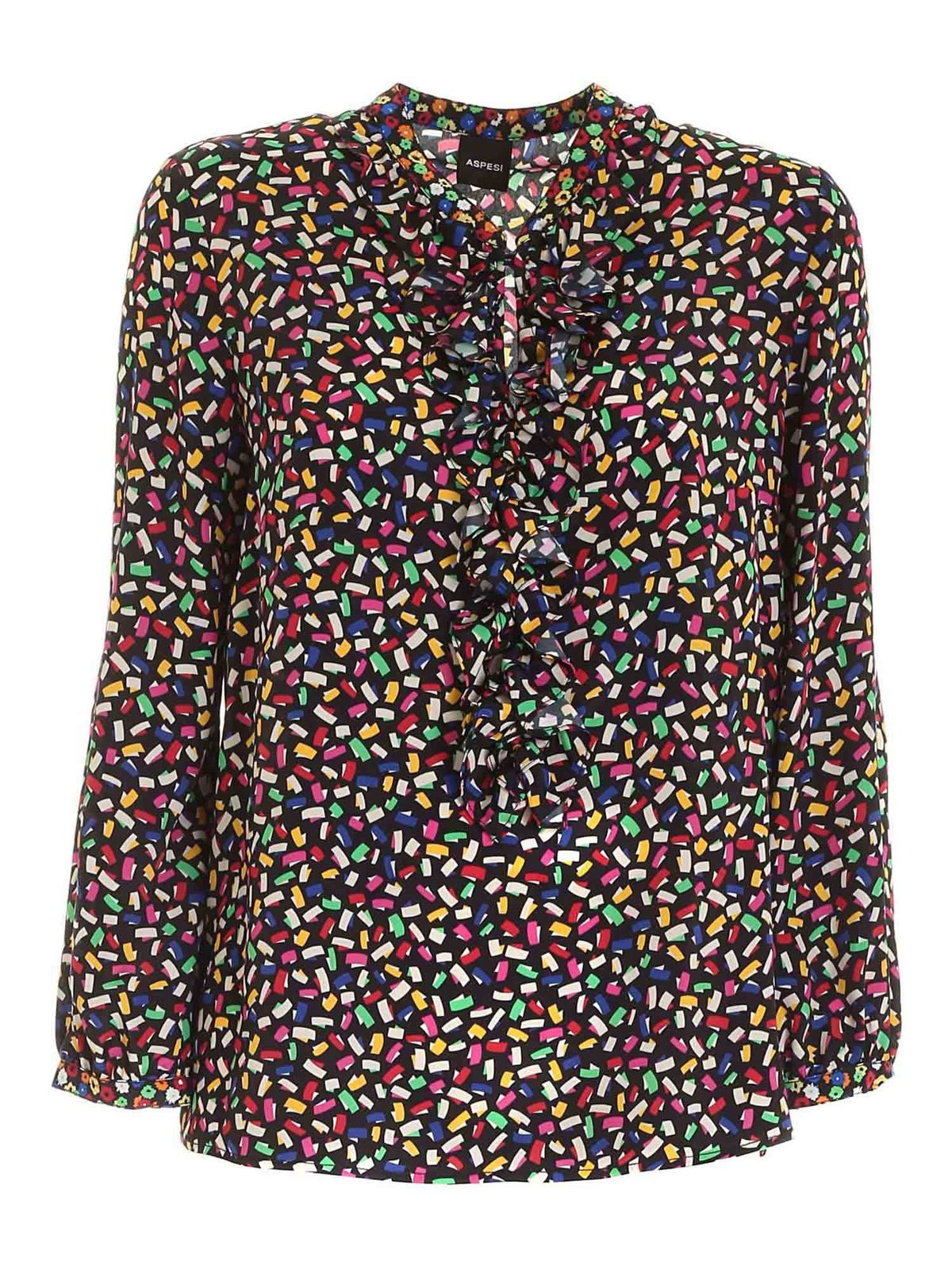 Aspesi MULTICOLOR PATTERN SHIRT IN BLACK