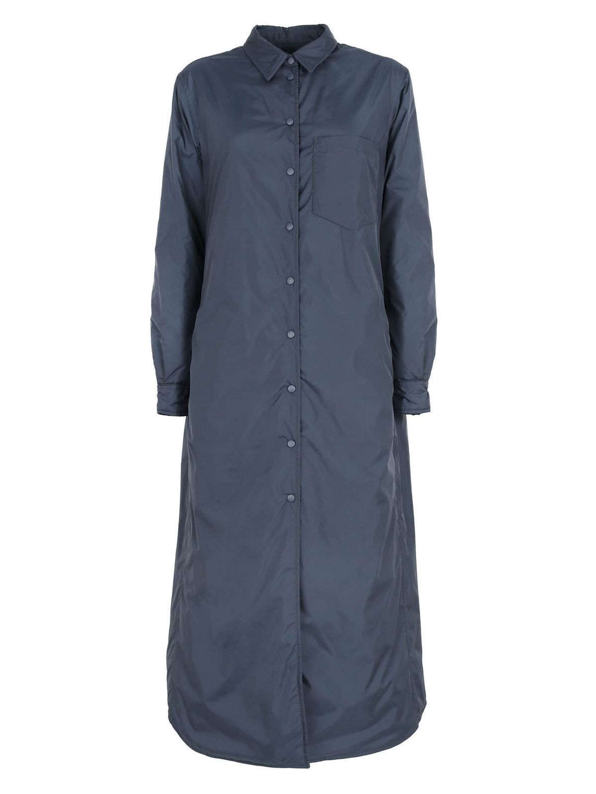 Aspesi PADDED MAXI SHIRT IN BLUE