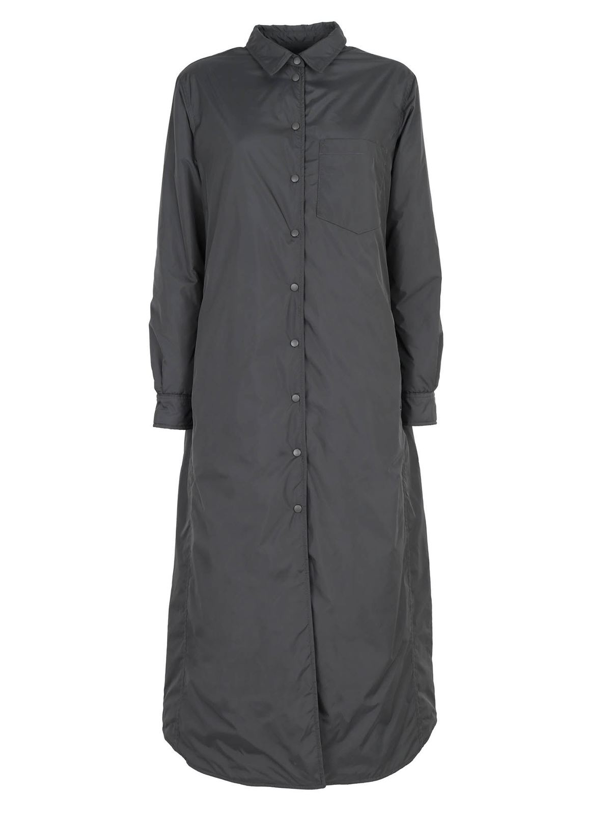 Aspesi PADDED MAXI SHIRT IN GREY