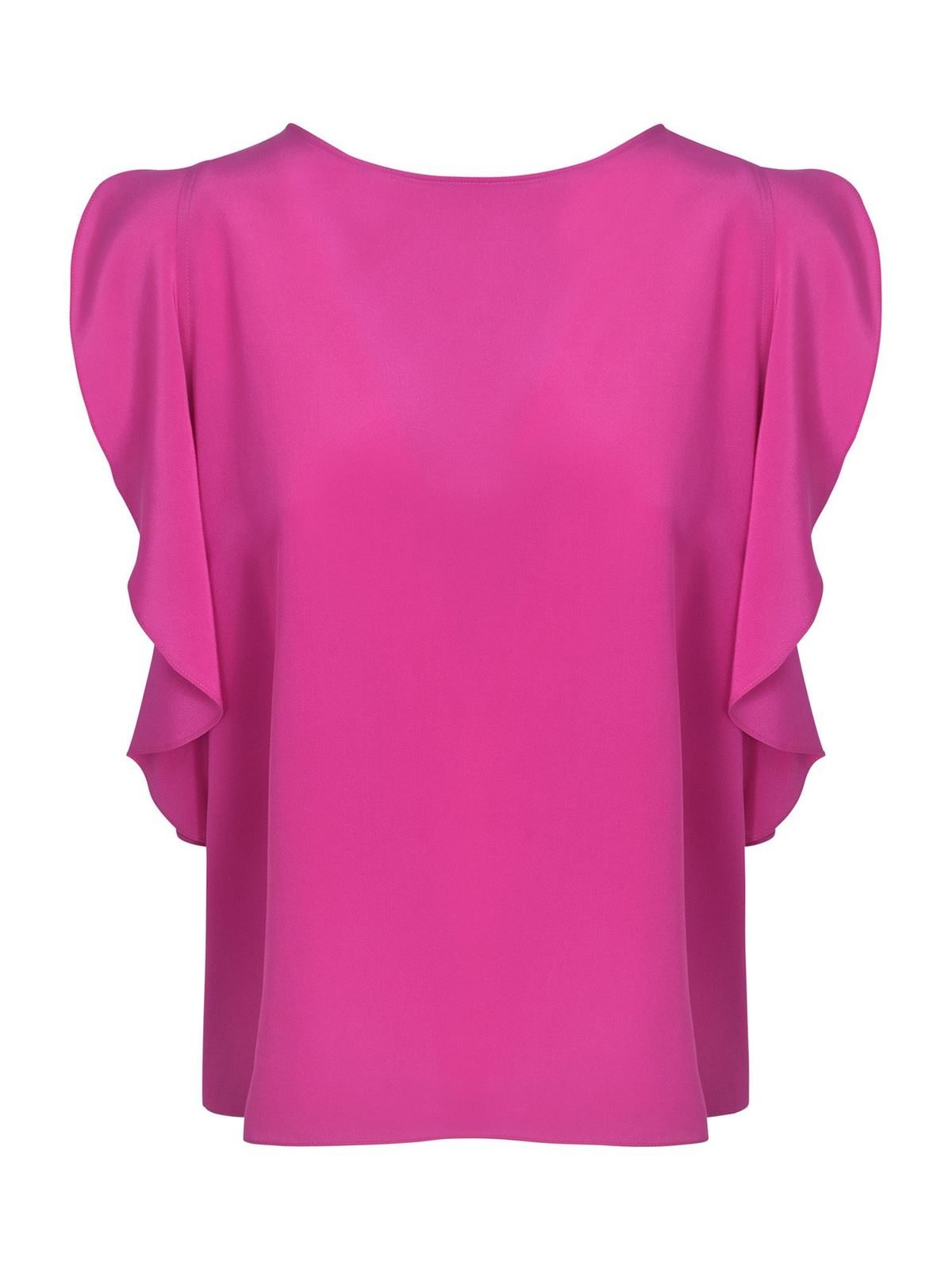 Aspesi Silks RUFFLED TOP IN FUCHSIA