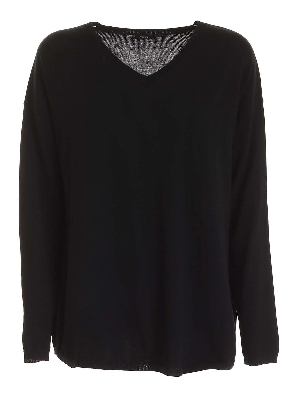 Aspesi RELAXED FIT PULLOVER IN BLACK