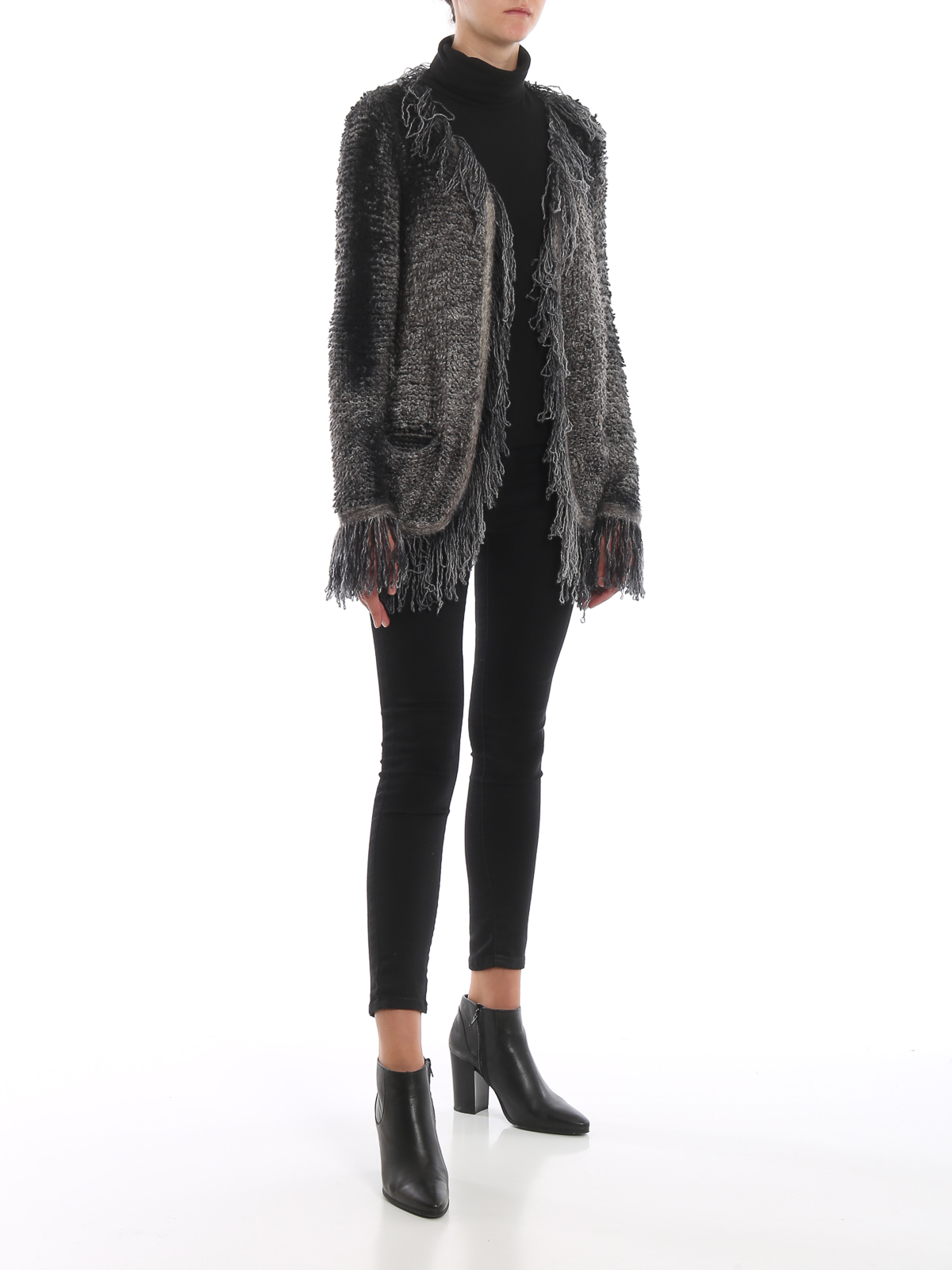 Avant Toi Fringed cashmere and silk open cardigan