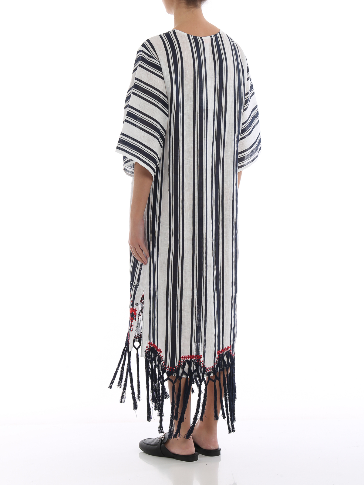 80ae678e57c Tory Burch - Awning stripe embroidered caftan - maxi dresses - 54796495