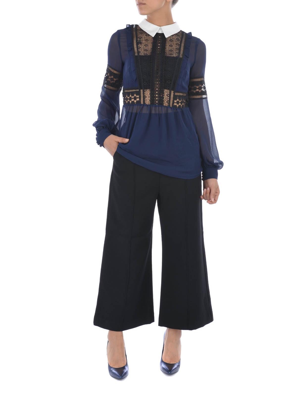 self portrait culotte in crepe con zip dietro pantaloni casual sp10 095. Black Bedroom Furniture Sets. Home Design Ideas