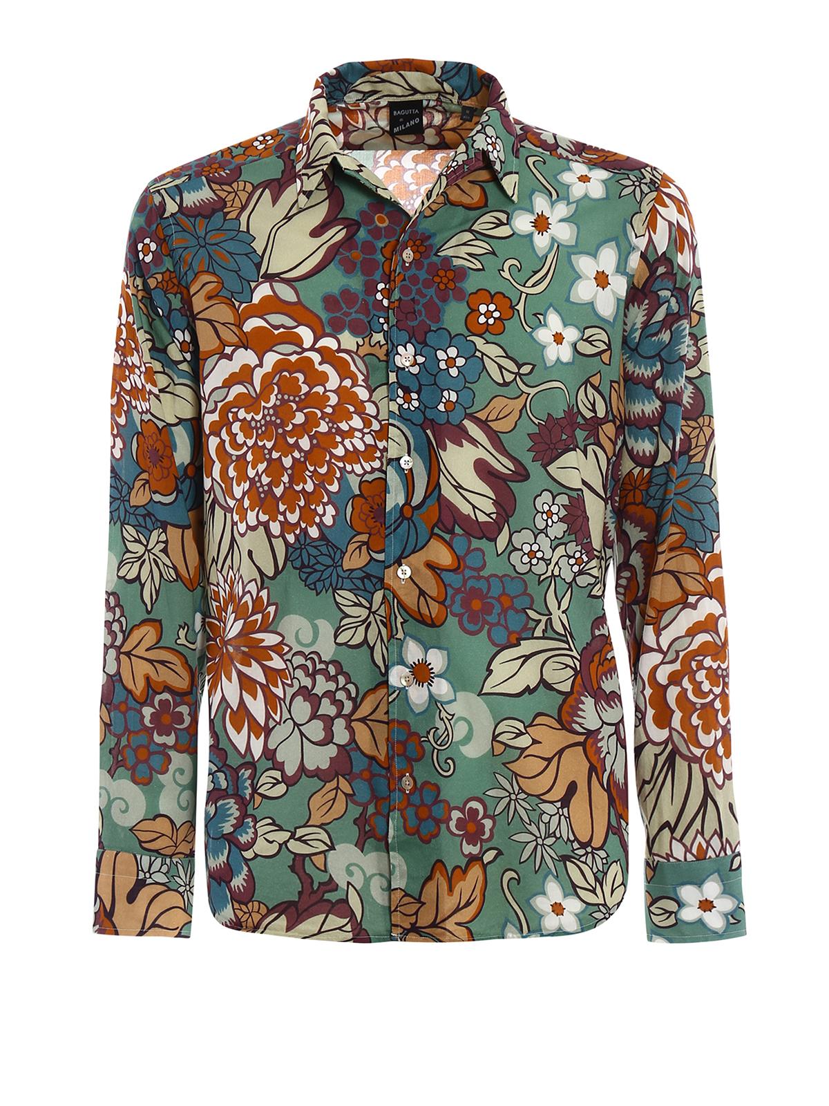 comprare on line 5902d 31848 Bagutta - Camicia in cotone a fiori - camicie - RJOHNNY ...